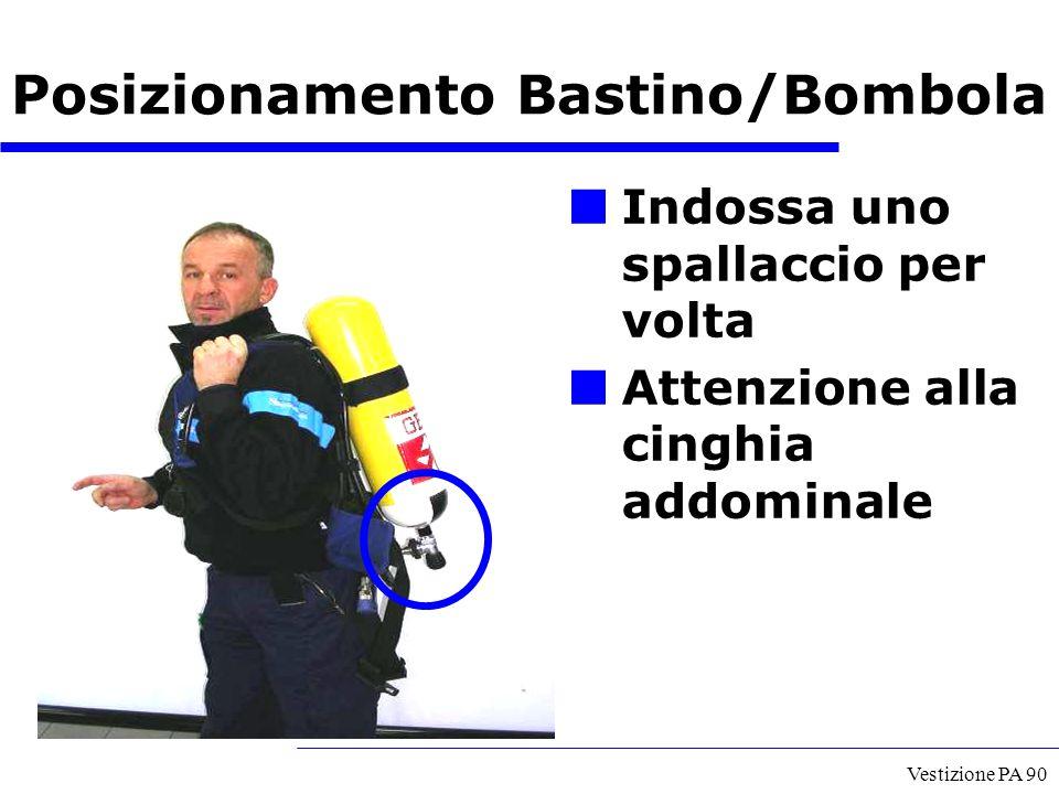 Vestizione PA 90 Indossa uno spallaccio per volta Attenzione alla cinghia addominale Posizionamento Bastino/Bombola