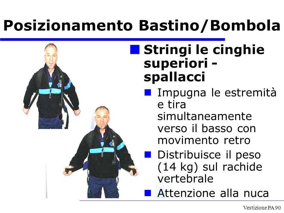 Vestizione PA 90 Stringi le cinghie superiori - spallacci Impugna le estremità e tira simultaneamente verso il basso con movimento retro Distribuisce