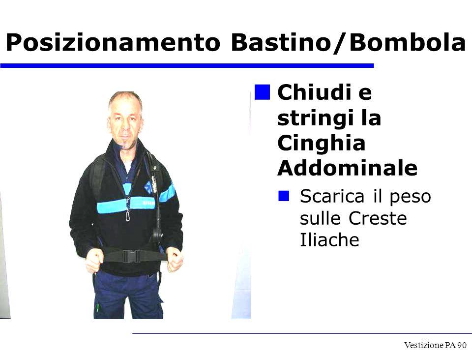 Vestizione PA 90 Chiudi e stringi la Cinghia Addominale Scarica il peso sulle Creste Iliache Posizionamento Bastino/Bombola