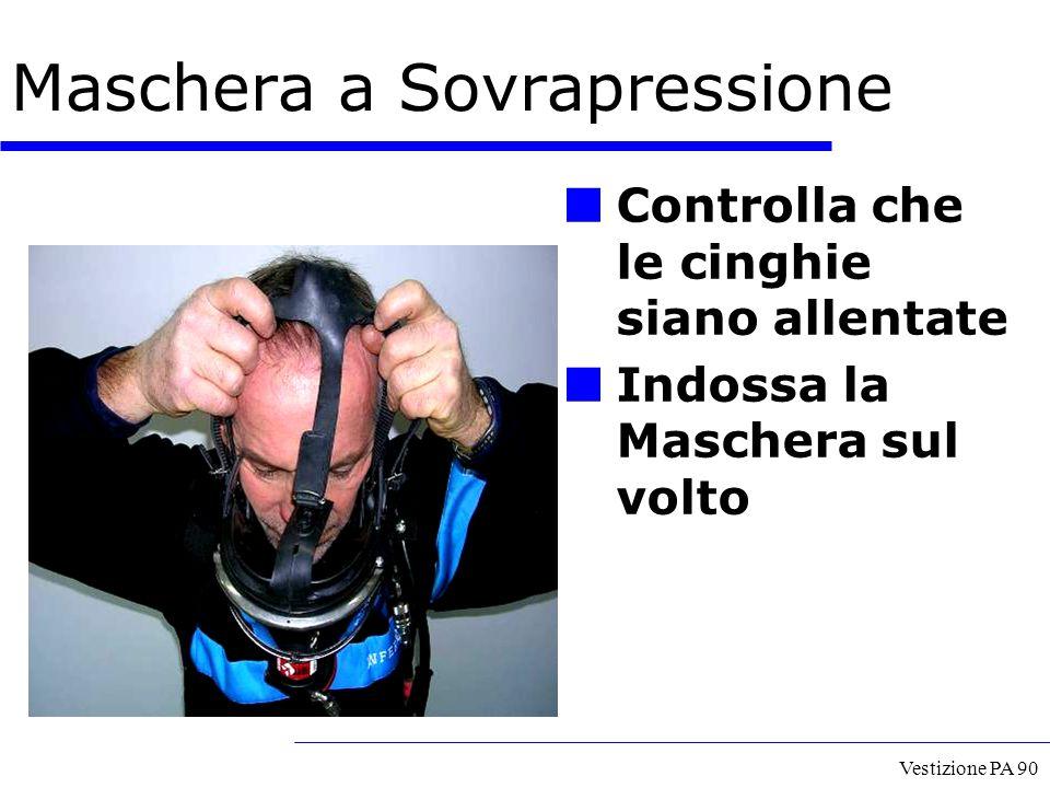 Vestizione PA 90 Controlla che le cinghie siano allentate Indossa la Maschera sul volto Maschera a Sovrapressione
