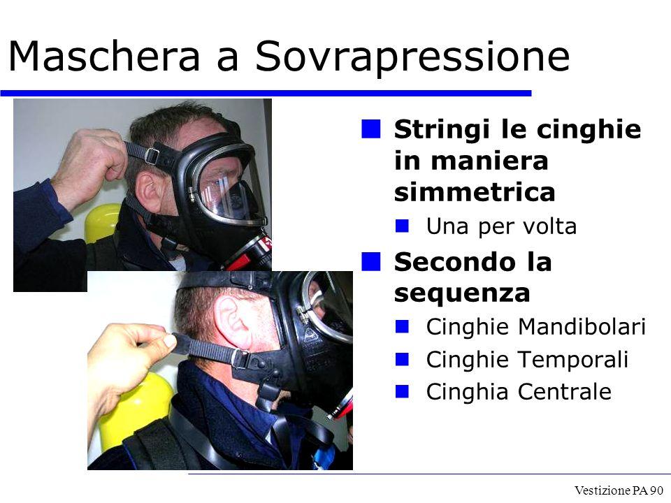 Vestizione PA 90 Maschera a Sovrapressione Stringi le cinghie in maniera simmetrica Una per volta Secondo la sequenza Cinghie Mandibolari Cinghie Temp