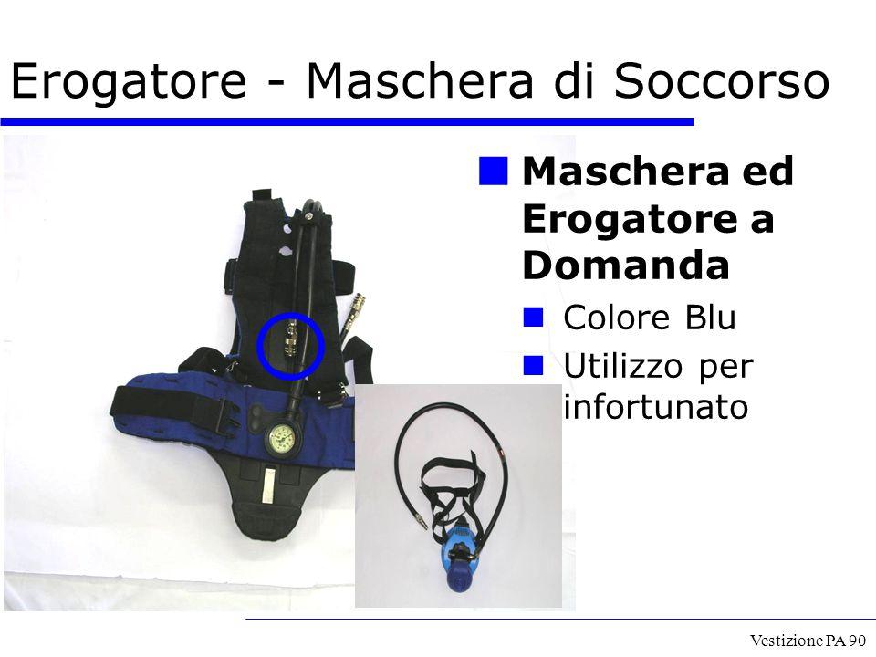 Vestizione PA 90 Erogatore - Maschera di Soccorso Maschera ed Erogatore a Domanda Colore Blu Utilizzo per infortunato