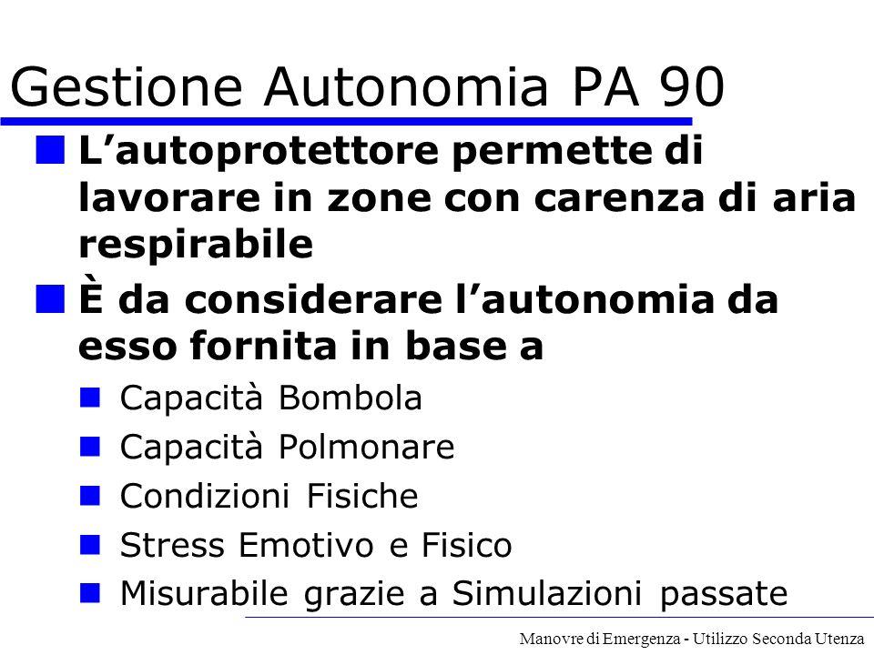 Manovre di Emergenza - Utilizzo Seconda Utenza Gestione Autonomia PA 90 L'autoprotettore permette di lavorare in zone con carenza di aria respirabile