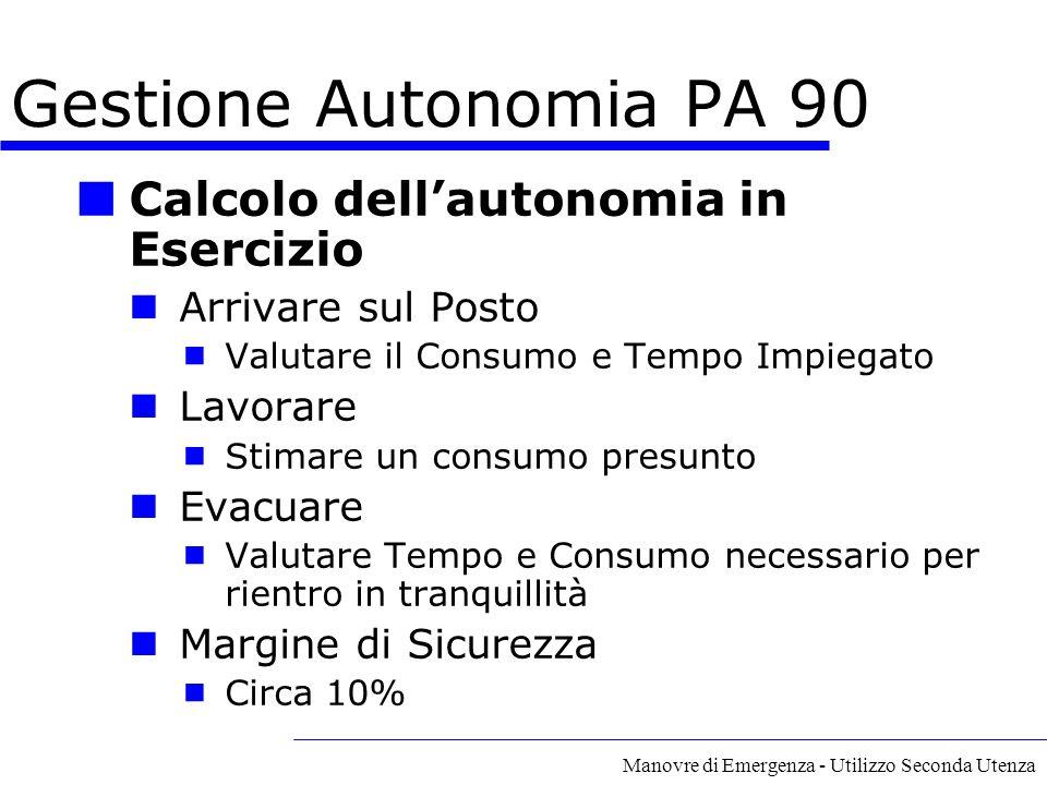 Manovre di Emergenza - Utilizzo Seconda Utenza Calcolo dell'autonomia in Esercizio Arrivare sul Posto  Valutare il Consumo e Tempo Impiegato Lavorare