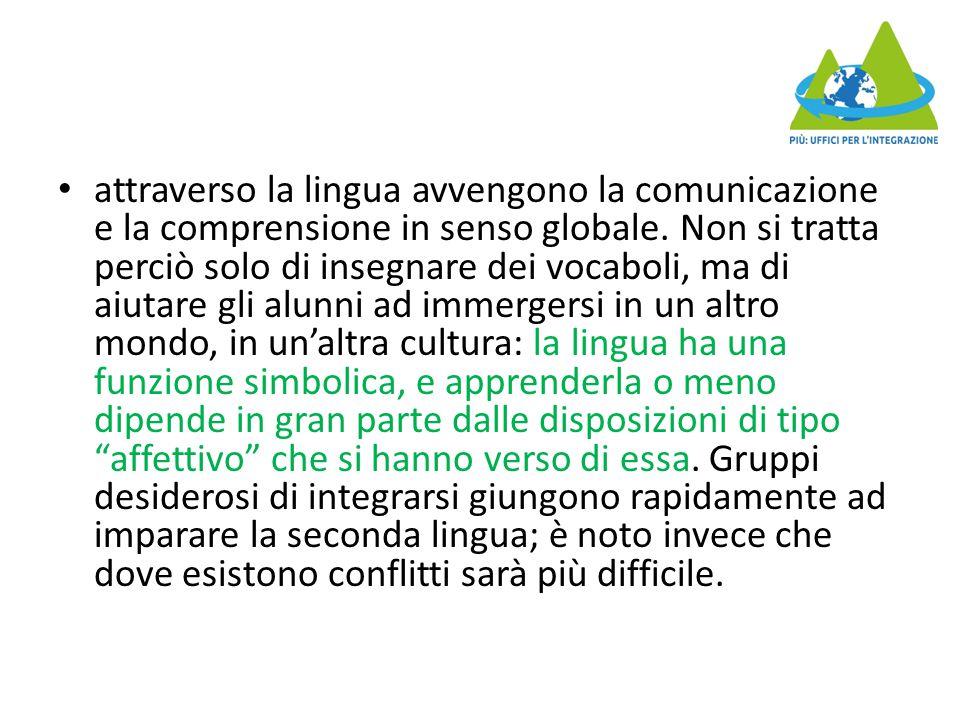 attraverso la lingua avvengono la comunicazione e la comprensione in senso globale.