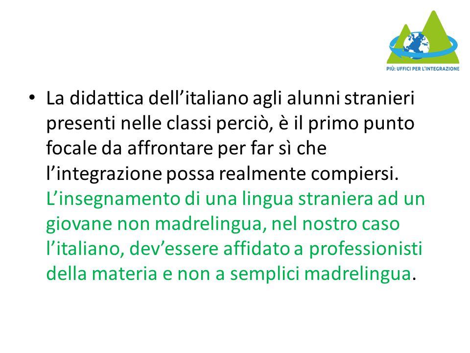 La didattica dell'italiano agli alunni stranieri presenti nelle classi perciò, è il primo punto focale da affrontare per far sì che l'integrazione possa realmente compiersi.