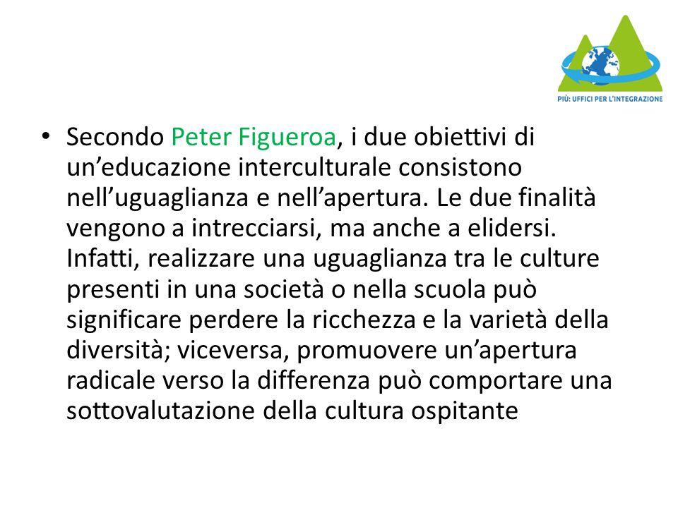 Secondo Peter Figueroa, i due obiettivi di un'educazione interculturale consistono nell'uguaglianza e nell'apertura.
