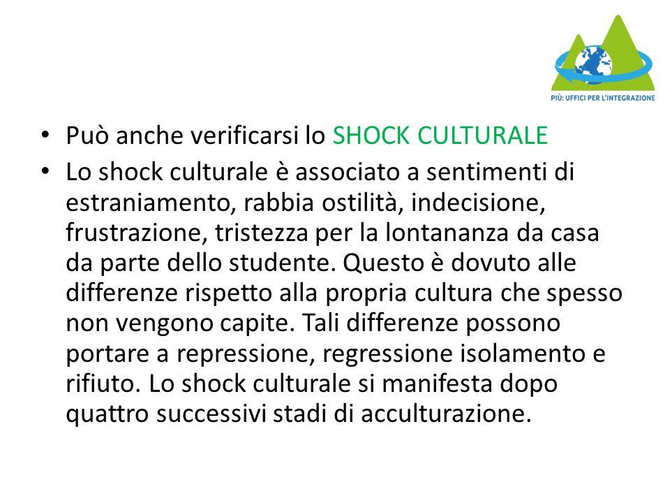 Può anche verificarsi lo SHOCK CULTURALE Lo shock culturale è associato a sentimenti di estraniamento, rabbia ostilità, indecisione, frustrazione, tristezza per la lontananza da casa da parte dello studente.