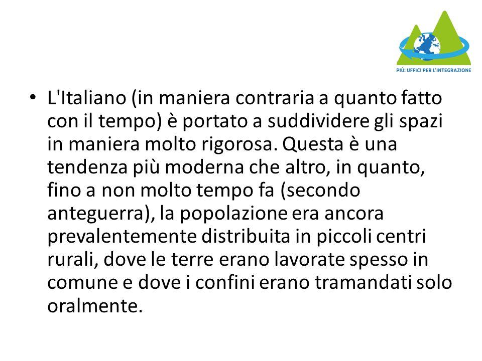 L Italiano (in maniera contraria a quanto fatto con il tempo) è portato a suddividere gli spazi in maniera molto rigorosa.