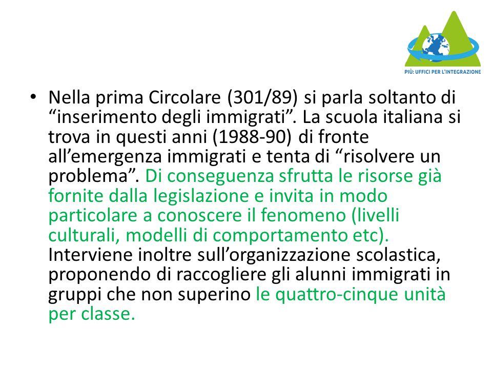 Nella prima Circolare (301/89) si parla soltanto di inserimento degli immigrati .