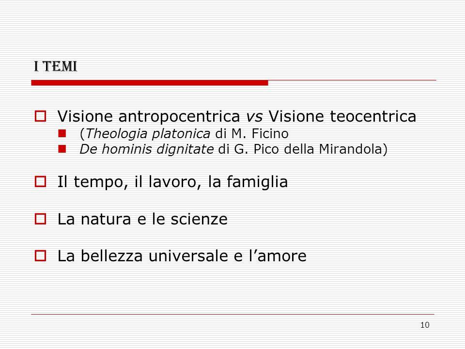 10 I temi  Visione antropocentrica vs Visione teocentrica (Theologia platonica di M. Ficino De hominis dignitate di G. Pico della Mirandola)  Il tem