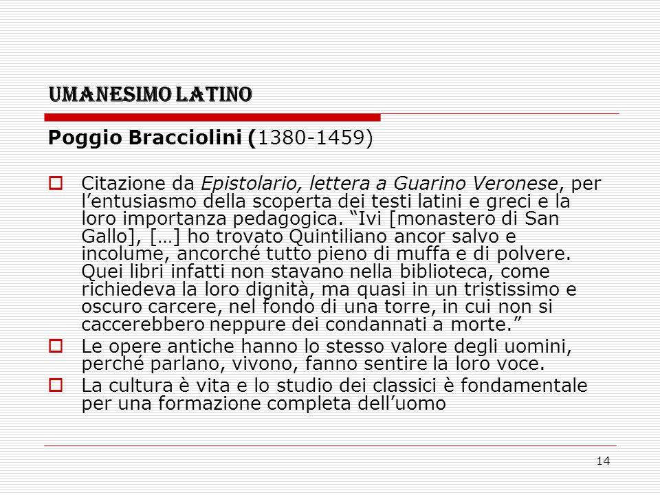 14 UMANESIMO LATINO Poggio Bracciolini (1380-1459)  Citazione da Epistolario, lettera a Guarino Veronese, per l'entusiasmo della scoperta dei testi l