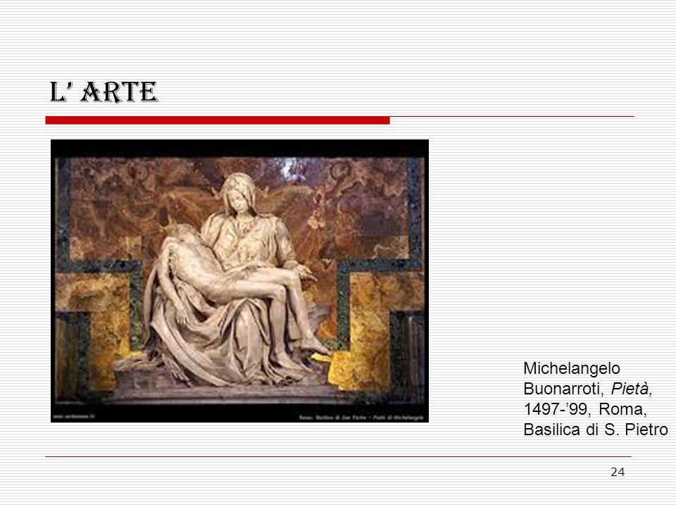 24 L' arte Michelangelo Buonarroti, Pietà, 1497-'99, Roma, Basilica di S. Pietro