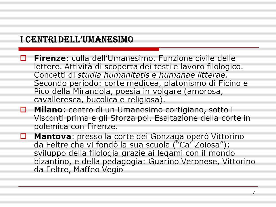7 I CENTRI DELL'UMANESIMO  Firenze: culla dell'Umanesimo. Funzione civile delle lettere. Attività di scoperta dei testi e lavoro filologico. Concetti