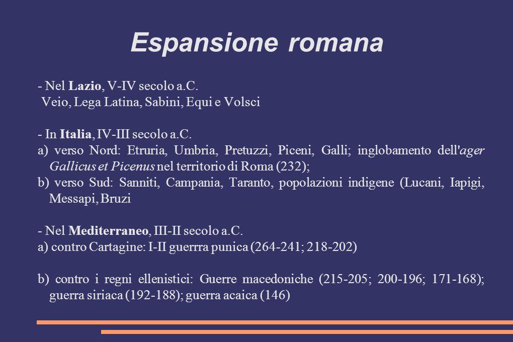 Espansione romana - Nel Lazio, V-IV secolo a.C. Veio, Lega Latina, Sabini, Equi e Volsci - In Italia, IV-III secolo a.C. a) verso Nord: Etruria, Umbri