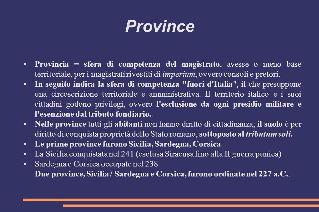 Province Provincia = sfera di competenza del magistrato, avesse o meno base territoriale, per i magistrati rivestiti di imperium, ovvero consoli e pre