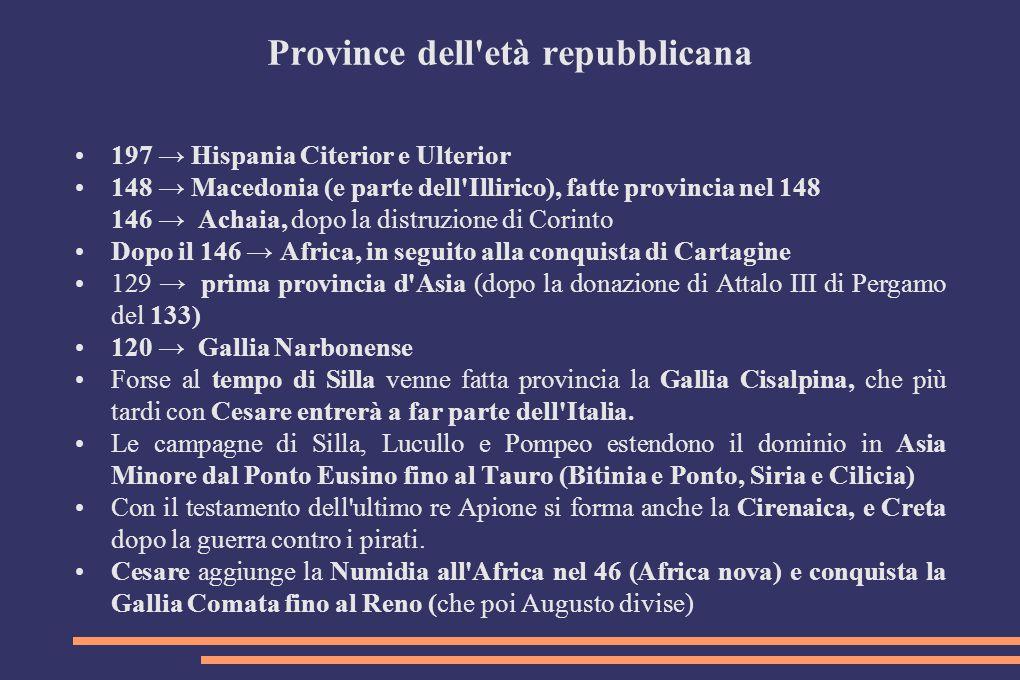 Province dell'età repubblicana 197 → Hispania Citerior e Ulterior 148 → Macedonia (e parte dell'Illirico), fatte provincia nel 148 146 → Achaia, dopo