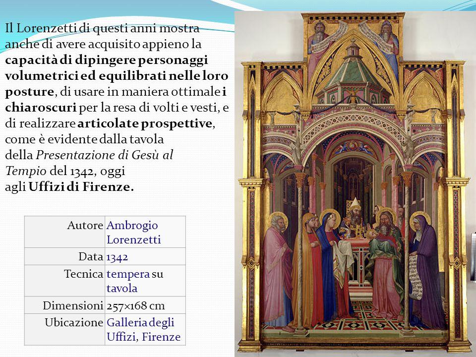 Il Lorenzetti di questi anni mostra anche di avere acquisito appieno la capacità di dipingere personaggi volumetrici ed equilibrati nelle loro posture, di usare in maniera ottimale i chiaroscuri per la resa di volti e vesti, e di realizzare articolate prospettive, come è evidente dalla tavola della Presentazione di Gesù al Tempio del 1342, oggi agli Uffizi di Firenze.