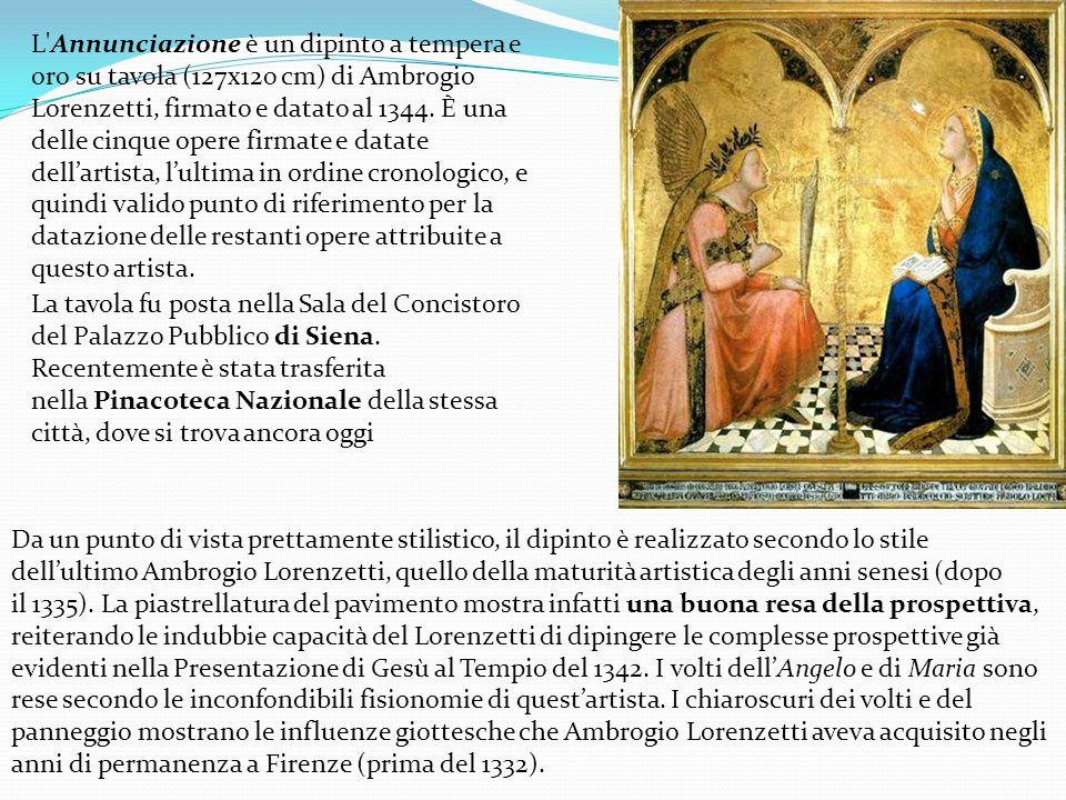 L Annunciazione è un dipinto a tempera e oro su tavola (127x120 cm) di Ambrogio Lorenzetti, firmato e datato al 1344.