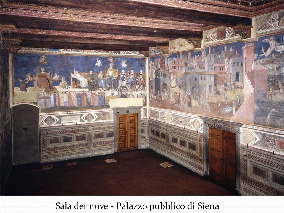 Allegoria degli Effetti del Buon Governo in Campagna (1338-1339), Parete di destra della Sala dei Nove, Palazzo Pubblico, Siena Soprattutto in quest'ultimo affresco Ambrogio Lorenzetti giunge ad un esito artistico di grande qualità ed originalità: nel corso del Trecento non esiste altra pittura di così ampia composizione vedutistica.