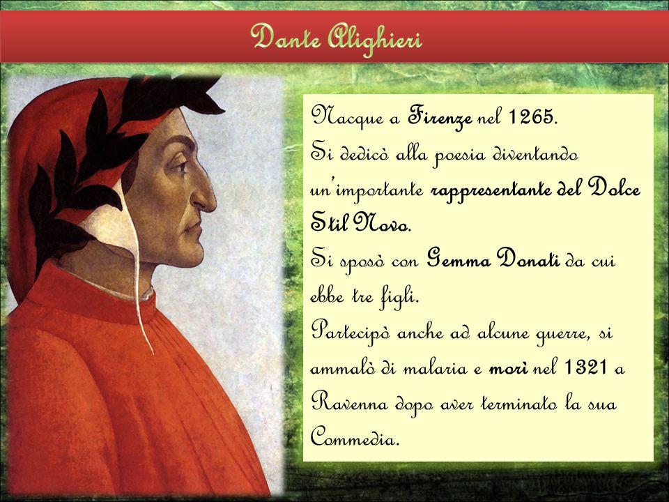 Nacque a Firenze nel 1265. Si dedicò alla poesia diventando un'importante rappresentante del Dolce Stil Novo. Si sposò con Gemma Donati da cui ebbe tr