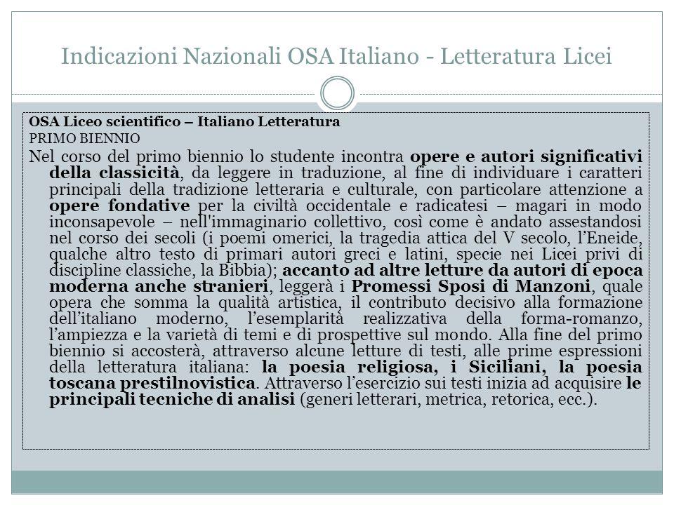 Indicazioni Nazionali OSA Italiano - Letteratura Licei OSA Liceo scientifico – Italiano Letteratura PRIMO BIENNIO Nel corso del primo biennio lo stude