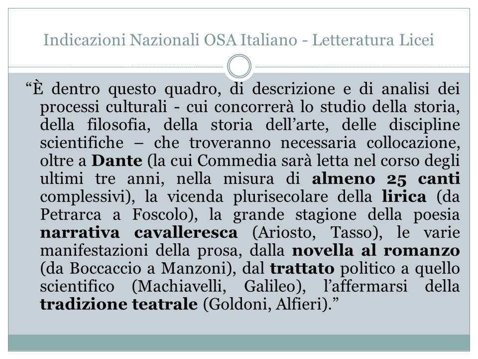 """Indicazioni Nazionali OSA Italiano - Letteratura Licei """"È dentro questo quadro, di descrizione e di analisi dei processi culturali - cui concorrerà lo"""