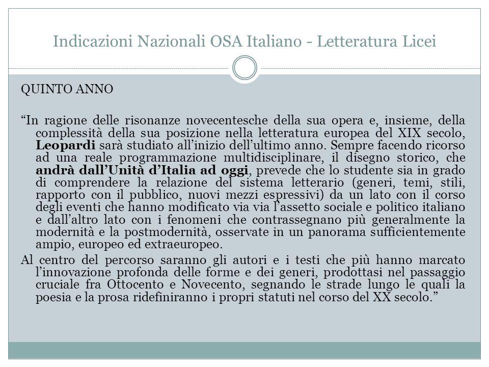 """Indicazioni Nazionali OSA Italiano - Letteratura Licei QUINTO ANNO """"In ragione delle risonanze novecentesche della sua opera e, insieme, della comples"""