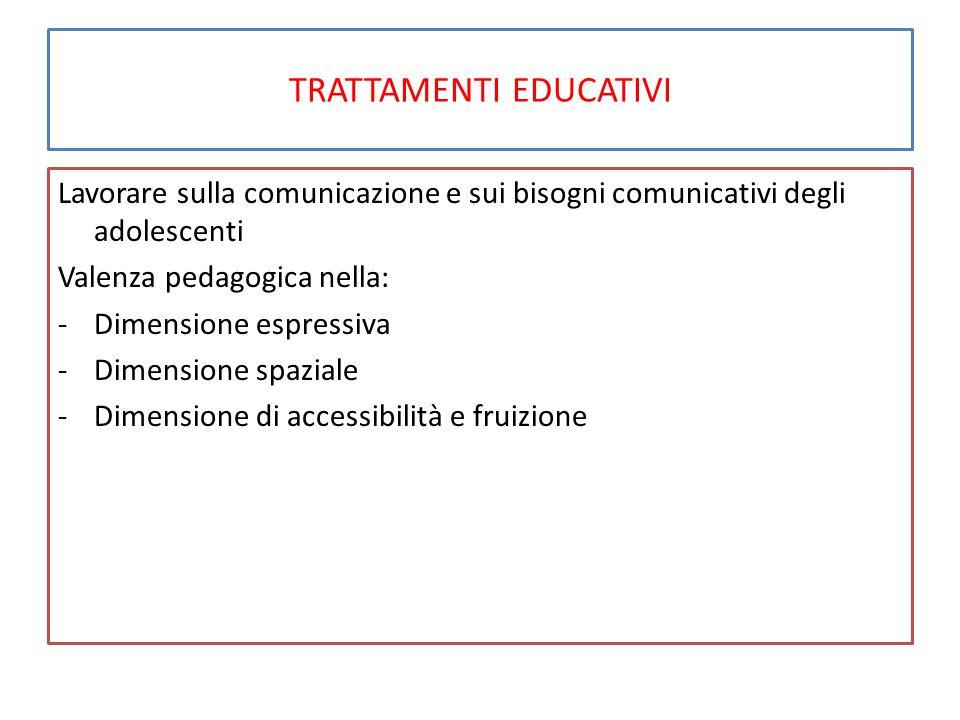 TRATTAMENTI EDUCATIVI Lavorare sulla comunicazione e sui bisogni comunicativi degli adolescenti Valenza pedagogica nella: -Dimensione espressiva -Dimensione spaziale -Dimensione di accessibilità e fruizione