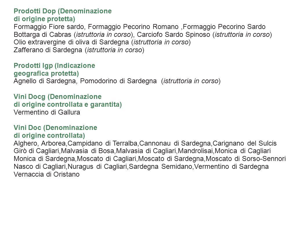 Prodotti Dop (Denominazione di origine protetta) Formaggio Fiore sardo, Formaggio Pecorino Romano,Formaggio Pecorino Sardo Bottarga di Cabras (istruttoria in corso), Carciofo Sardo Spinoso (istruttoria in corso) Olio extravergine di oliva di Sardegna (istruttoria in corso) Zafferano di Sardegna (istruttoria in corso) Prodotti Igp (Indicazione geografica protetta) Agnello di Sardegna, Pomodorino di Sardegna (istruttoria in corso) Vini Docg (Denominazione di origine controllata e garantita) Vermentino di Gallura Vini Doc (Denominazione di origine controllata) Alghero, Arborea,Campidano di Terralba,Cannonau di Sardegna,Carignano del Sulcis Girò di Cagliari,Malvasia di Bosa,Malvasia di Cagliari,Mandrolisai,Monica di Cagliari Monica di Sardegna,Moscato di Cagliari,Moscato di Sardegna,Moscato di Sorso-Sennori Nasco di Cagliari,Nuragus di Cagliari,Sardegna Semidano,Vermentino di Sardegna Vernaccia di Oristano