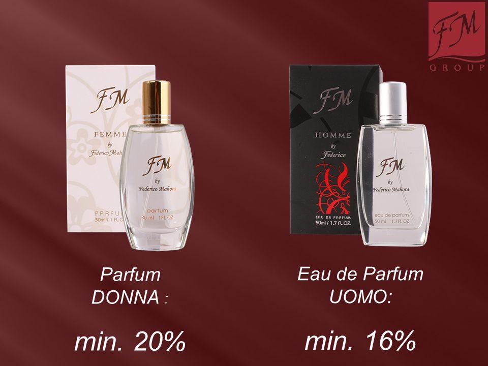 Parfum DONNA : min. 20% Eau de Parfum UOMO: min. 16%