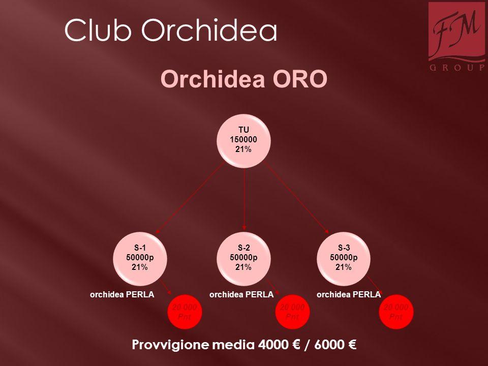S-1 50000p 21% TU 150000 21% S-2 50000p 21% S-3 50000p 21% orchidea PERLA Orchidea ORO Provvigione media 4000 € / 6000 € 20 000 Pnt 20 000 Pnt 20 000