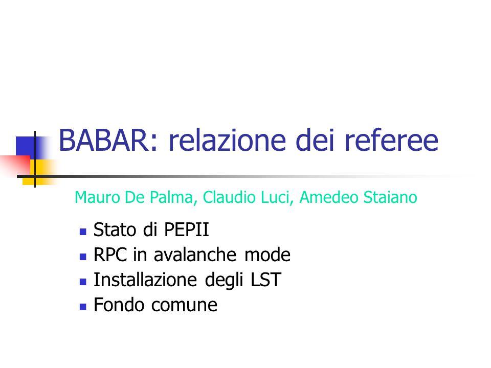 BABAR: relazione dei referee Stato di PEPII RPC in avalanche mode Installazione degli LST Fondo comune Mauro De Palma, Claudio Luci, Amedeo Staiano