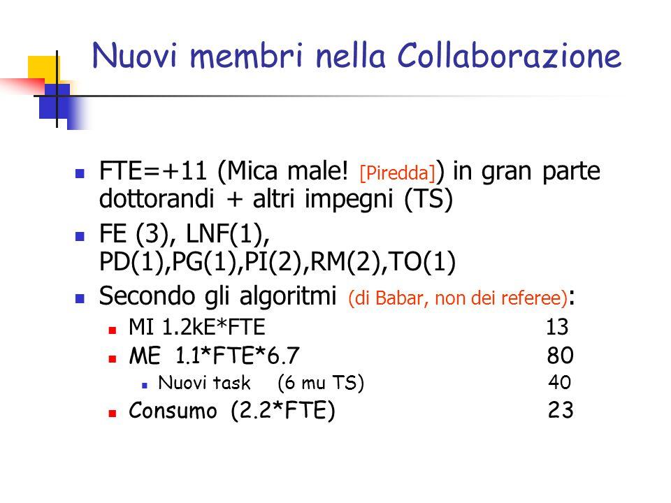Nuovi membri nella Collaborazione FTE=+11 (Mica male.