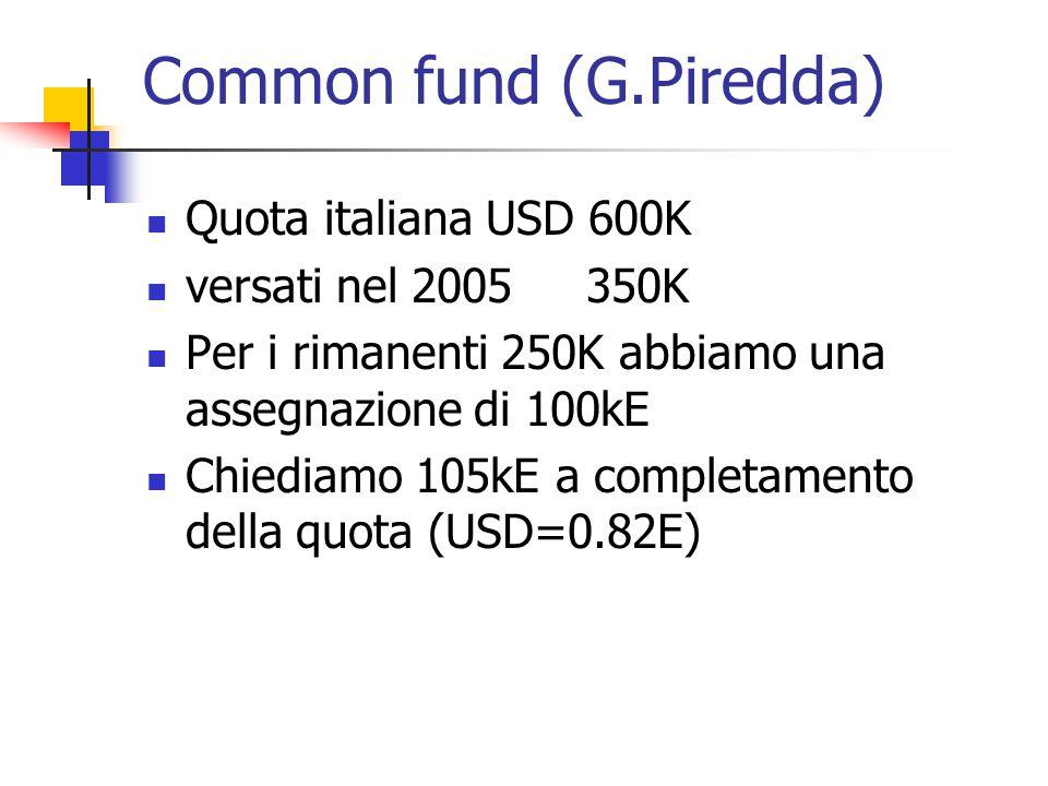 Common fund (G.Piredda) Quota italiana USD 600K versati nel 2005 350K Per i rimanenti 250K abbiamo una assegnazione di 100kE Chiediamo 105kE a completamento della quota (USD=0.82E)