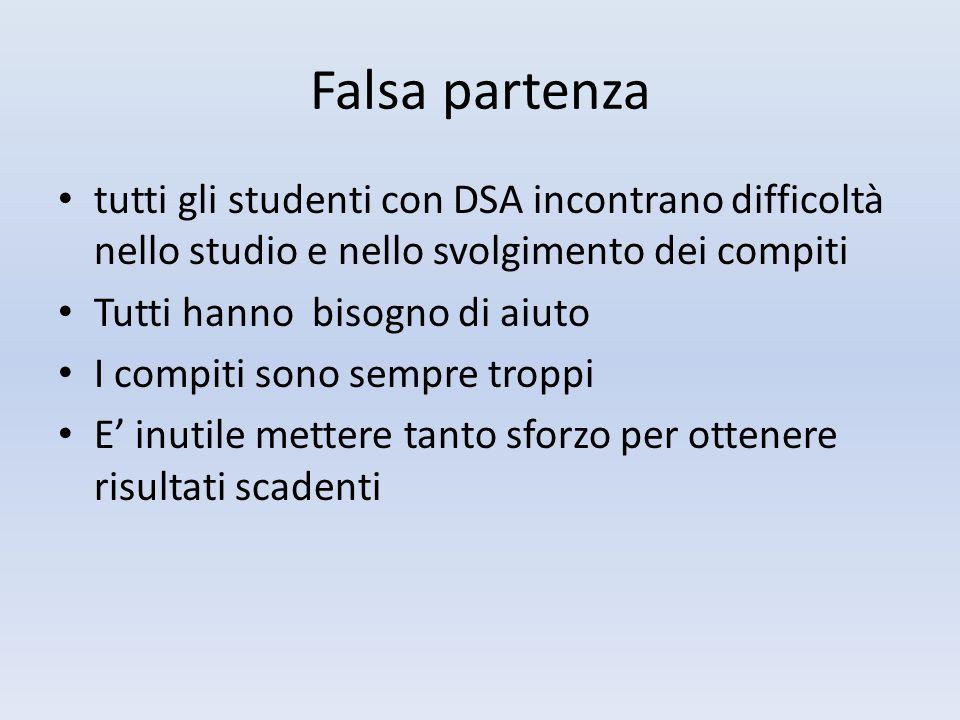 Falsa partenza tutti gli studenti con DSA incontrano difficoltà nello studio e nello svolgimento dei compiti Tutti hanno bisogno di aiuto I compiti so
