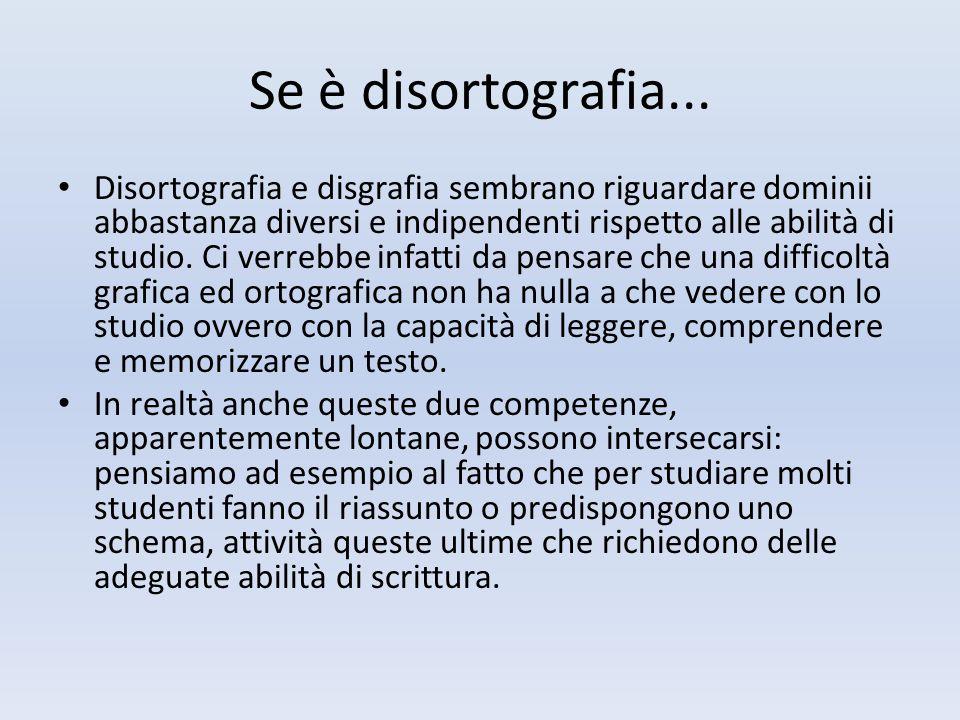 Se è disortografia... Disortografia e disgrafia sembrano riguardare dominii abbastanza diversi e indipendenti rispetto alle abilità di studio. Ci verr