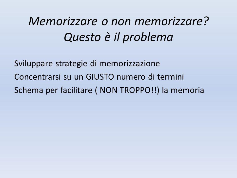 Memorizzare o non memorizzare? Questo è il problema Sviluppare strategie di memorizzazione Concentrarsi su un GIUSTO numero di termini Schema per faci