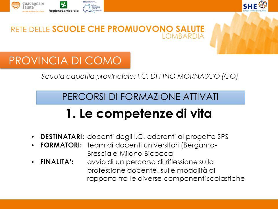 PROVINCIA DI PAVIA PERCORSI DI FORMAZIONE ATTIVATI 1.