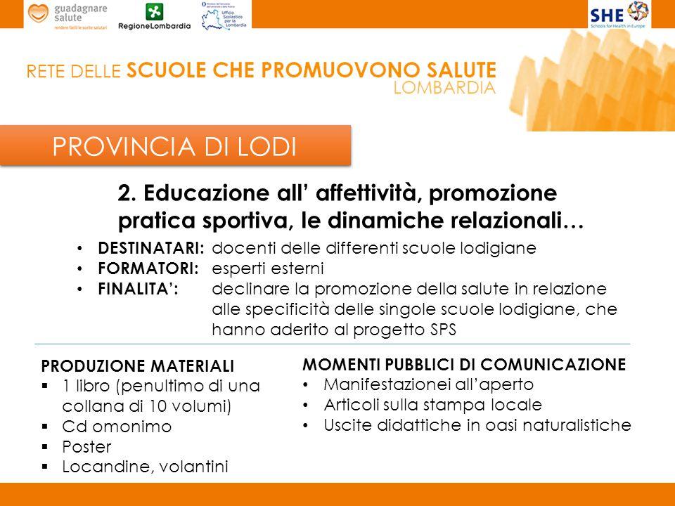 PROVINCIA LECCO Scuola capofila provinciale: I.C.
