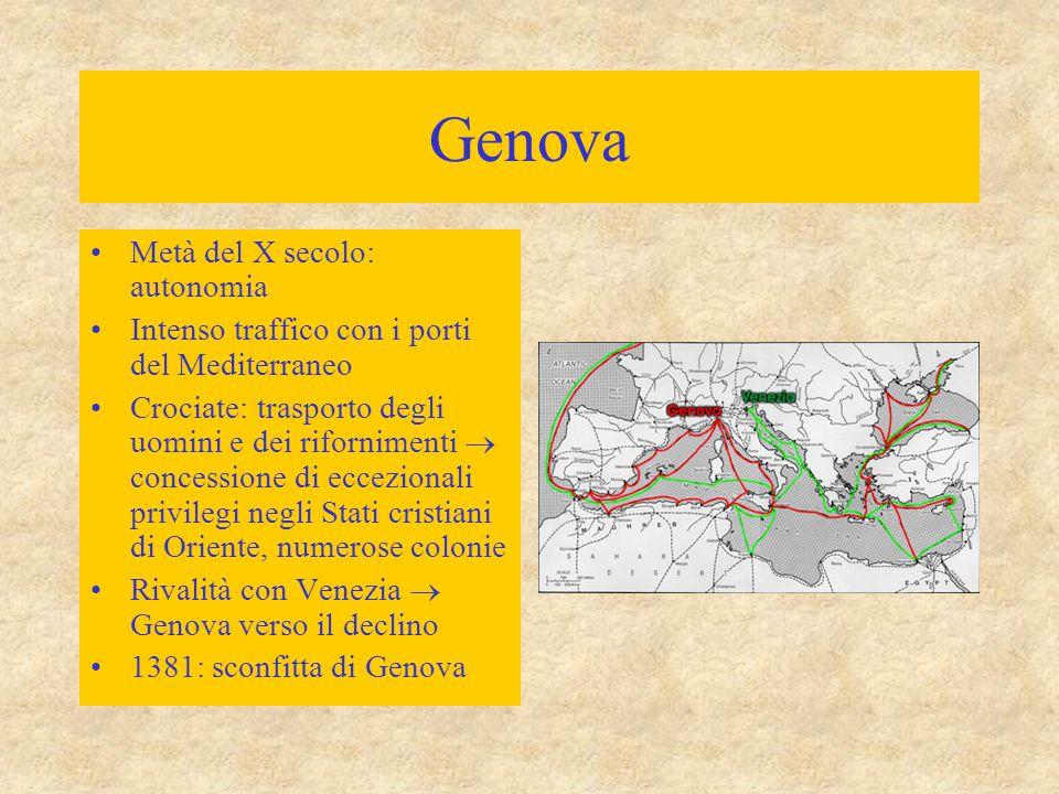 Pisa Seconda metà del X secolo: autonomia Pisa e Genova contro i Musulmani Sforzo militare e mercantile  conquista della Sardegna (Pisa) e della Cors