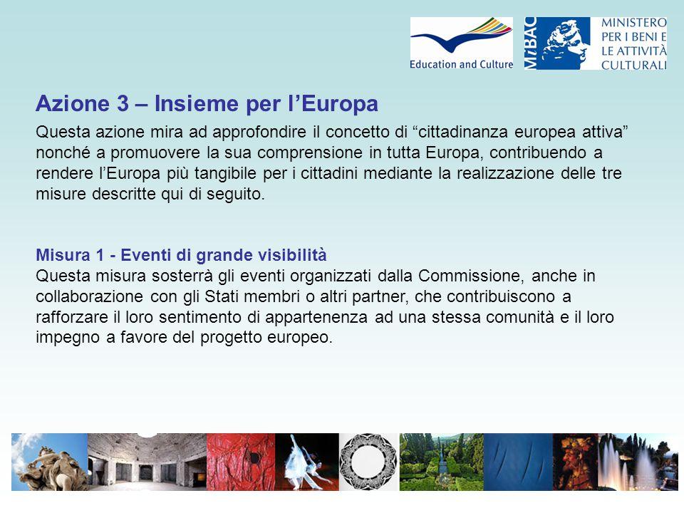 """Azione 3 – Insieme per l'Europa Questa azione mira ad approfondire il concetto di """"cittadinanza europea attiva"""" nonché a promuovere la sua comprension"""