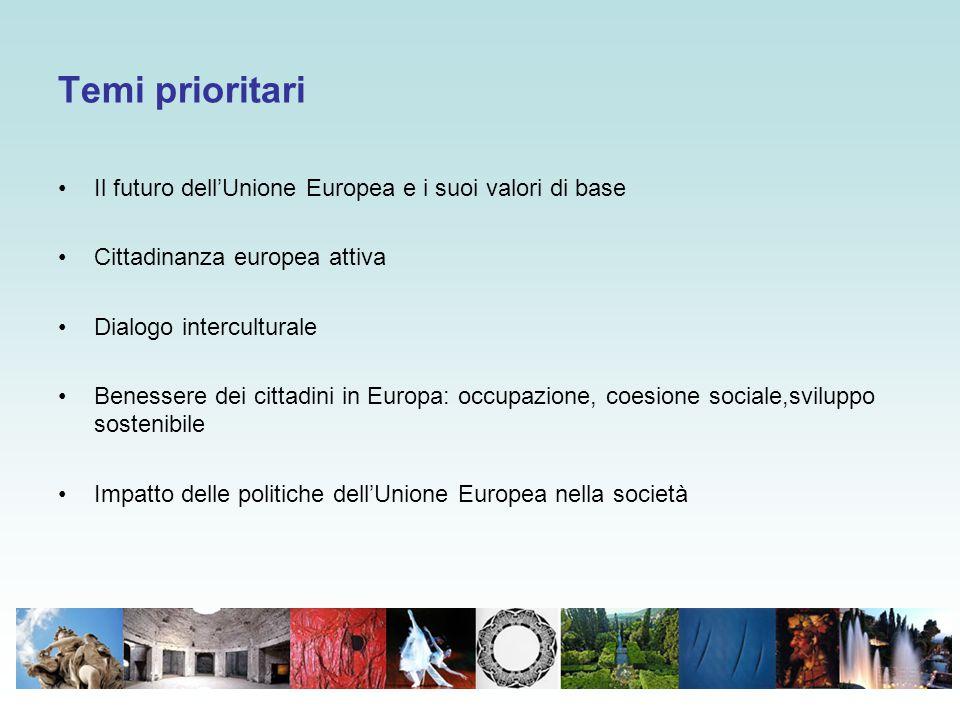 Temi prioritari Il futuro dell'Unione Europea e i suoi valori di base Cittadinanza europea attiva Dialogo interculturale Benessere dei cittadini in Eu