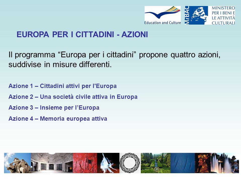 Budget : € 215 Mio : (30,7 mio/anno) Azione 1 : Cittadini attivi per l'Europa : Gemellaggi 45 % Azione 2: Società civile attiva in Europa :31 % Azione 3: Tutti insieme per l'Europa :10 % Azione 4: Memoria europea attiva :4 % EUROPA PER I CITTADINI - BUDGET
