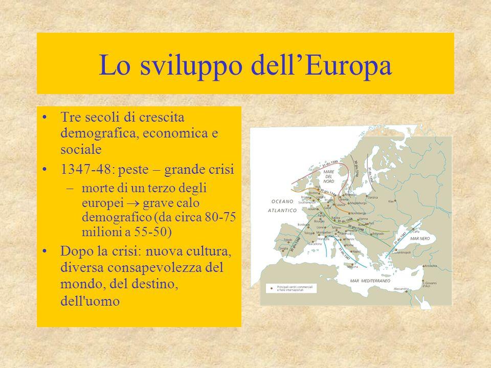Lo sviluppo dell'Europa Tre secoli di crescita demografica, economica e sociale 1347-48: peste – grande crisi –morte di un terzo degli europei  grave