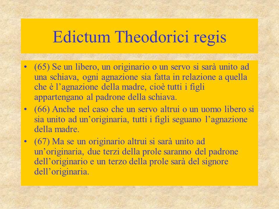 Edictum Theodorici regis (65) Se un libero, un originario o un servo si sarà unito ad una schiava, ogni agnazione sia fatta in relazione a quella che