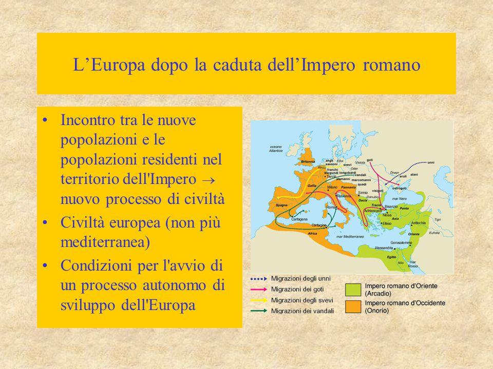 L'Europa dopo la caduta dell'Impero romano Incontro tra le nuove popolazioni e le popolazioni residenti nel territorio dell'Impero  nuovo processo di