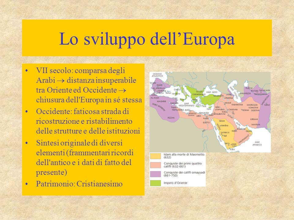 Lo sviluppo dell'Europa VII secolo: comparsa degli Arabi  distanza insuperabile tra Oriente ed Occidente  chiusura dell'Europa in sé stessa Occident