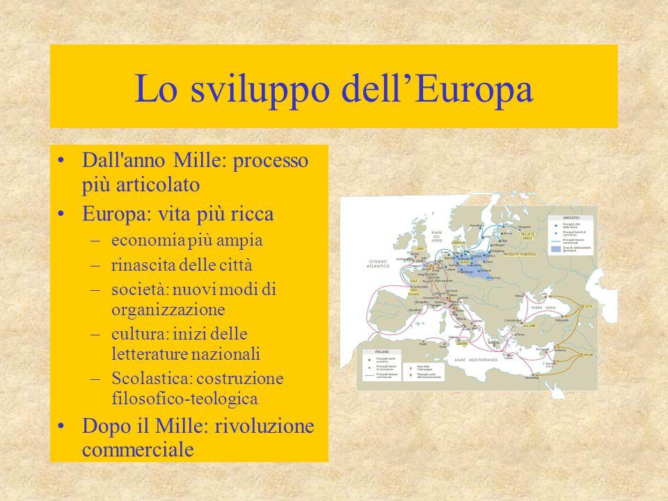 Lo sviluppo dell'Europa Dall'anno Mille: processo più articolato Europa: vita più ricca –economia più ampia –rinascita delle città –società: nuovi mod