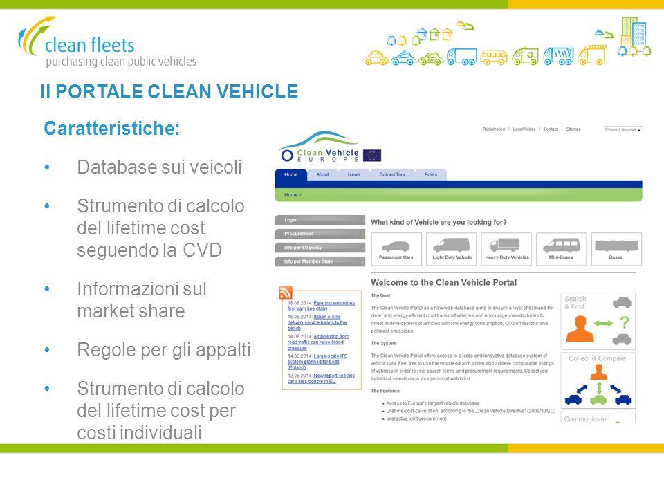 Il PORTALE CLEAN VEHICLE Caratteristiche: Database sui veicoli Strumento di calcolo del lifetime cost seguendo la CVD Informazioni sul market share Regole per gli appalti Strumento di calcolo del lifetime cost per costi individuali